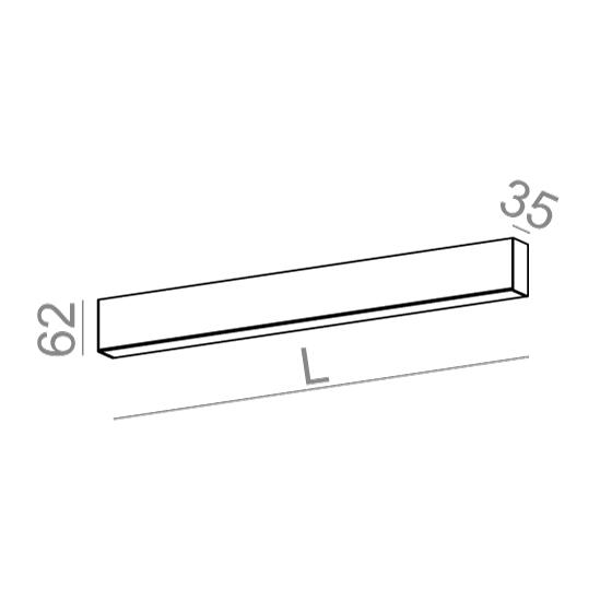 AQForm Rafter 86 cm czarny Oprawa Ścienna LED