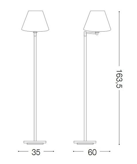 BEVERLY PT1 140315 Lampa stojąca Ideal Lux mosiądz