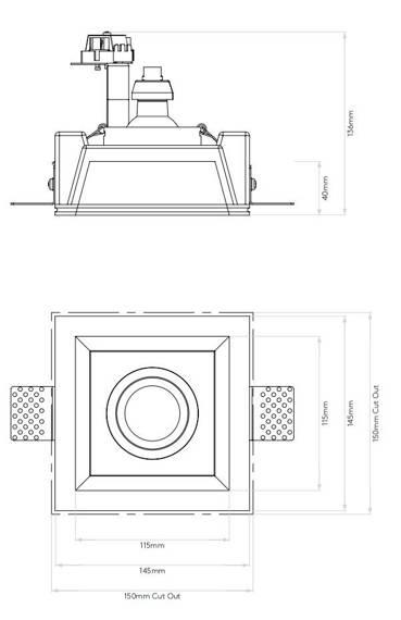 Blanco Square Adjustable 7345 Oprawa pod zabudowę Astro