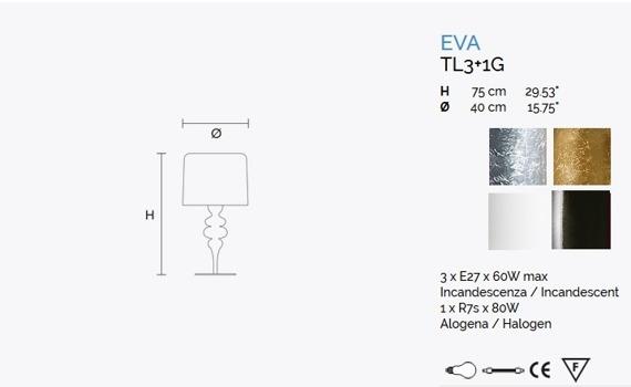 Eva TL3+1G Lampa Stołowa Masiero srebrna