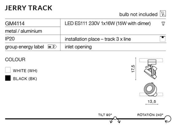 Jerry Track GM4114-BK Azzardo Reflektorek do szynoprzewodu
