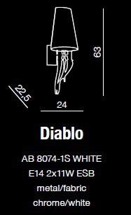 Kinkiet Duży AZZARDO Diablo AZ0087 Biały