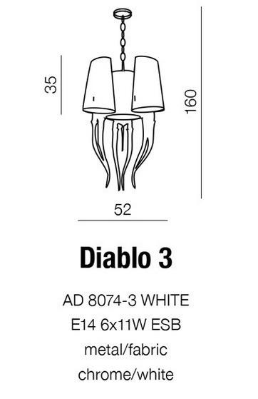 Lampa AZZARDO Diablo 3 AD 8074-3 Biała