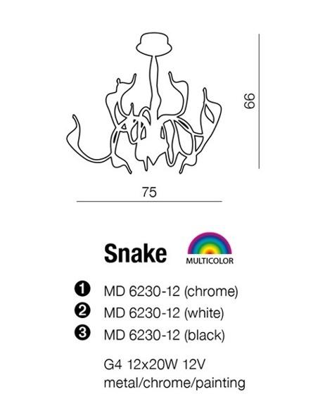 Lampa AZZARDO Snake MD 6230-12 Chrome