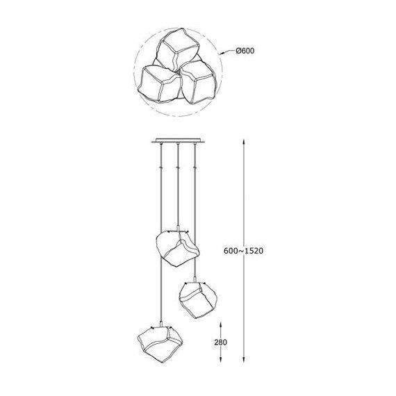 Lampa wisząca podłużna Zuma Line Rock P0488-03A-B5HF