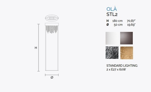 Ola STL2 Lampa podłogowa MASIERO  srebrna