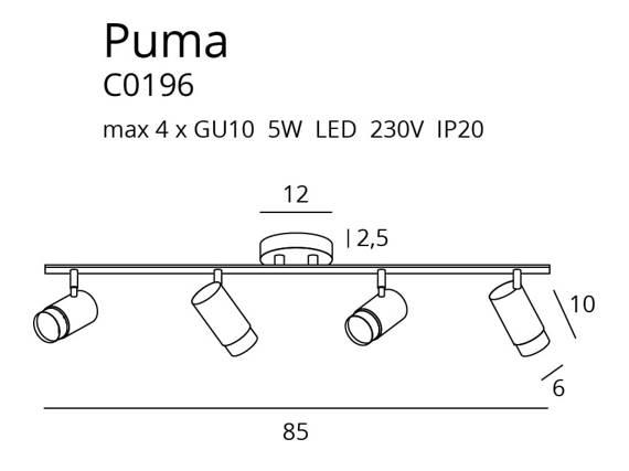 Plafon podłużny Czarny MaxLight Puma C0196