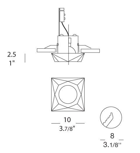 SIDERAL I Oprawa do zabudowy kryształowa 8 cm Leucos