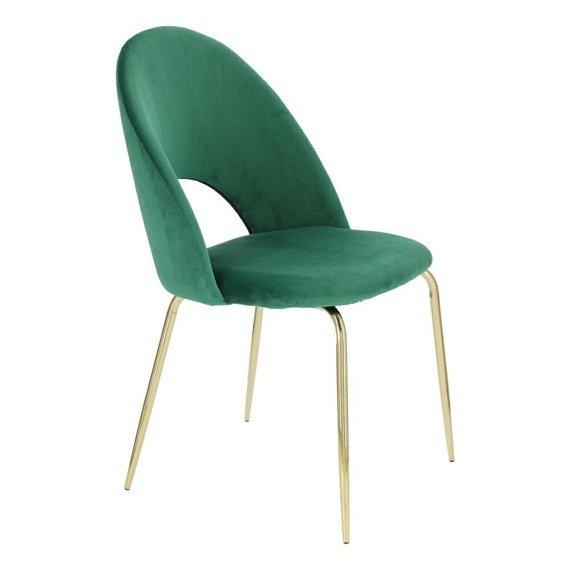 Welurowe zielone krzesło Kotte Velvet styl art deco